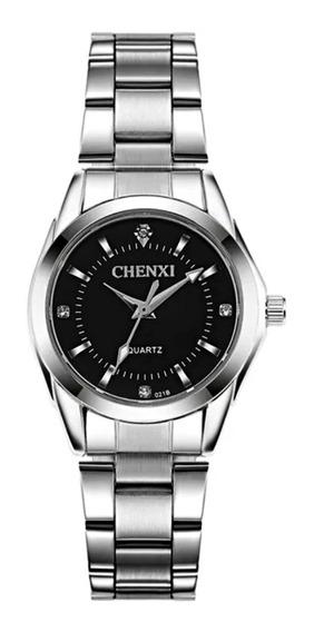 Relógio Feminino Leve Pequeno Prata Pulso Fino Fundo Preto