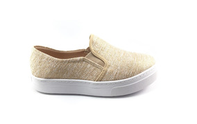 Tênis Flat Form Slipper Nude C/ Dourado