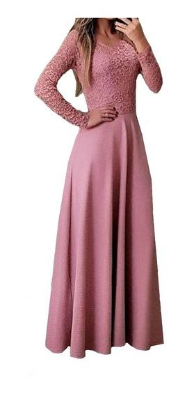 Vestido Moda Evangelica Longo Casamento Civil Madrinha N94