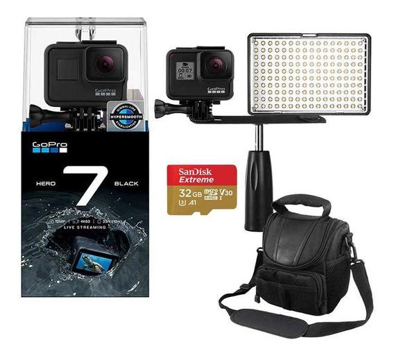 Gopro Hero 7 Black Câmera 4k + Iluminador Led + Bolsa