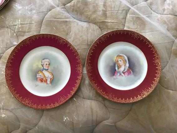 2 Platos Decorativos Limoges France Retratos Pintados A Mano