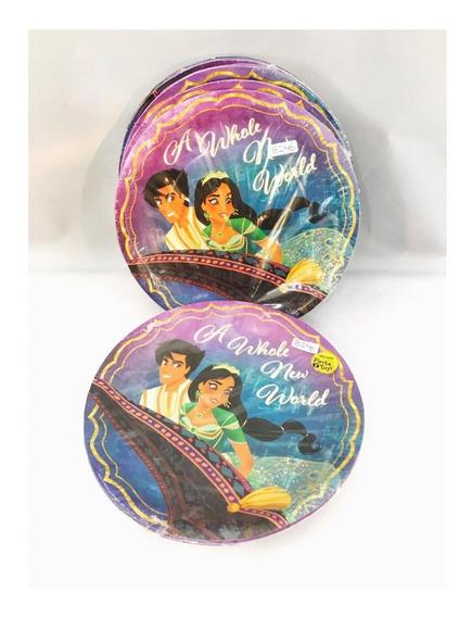 36 Platos Aladdin Jazmine 7in Pastel Infantil Fiesta Cump Gm