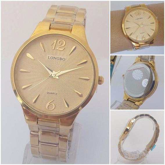 Relógio Feminino Dourado Longbo Folheado A Ouro Original Vip