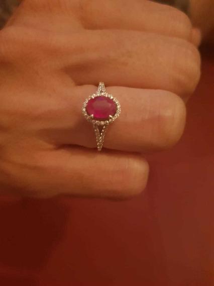 Anel De Rubi Com Diamantes
