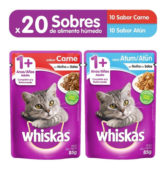 Comida Gatos Whiskas Sobres Carne (10un) + Atun (10un)