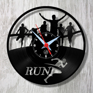 Corrida Maratona Esporte Relógio Vinil Parede Lp
