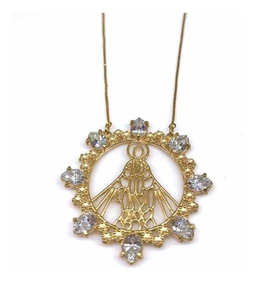 Colar Nossa Senhora Aparecida Mandala Folheada A Ouro