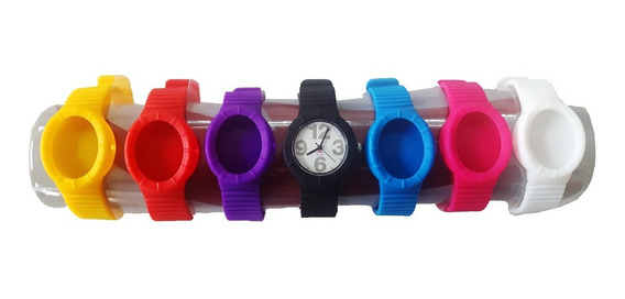 Relógio Colorido Unissex Sete Pulseiras De Silicone - Novo