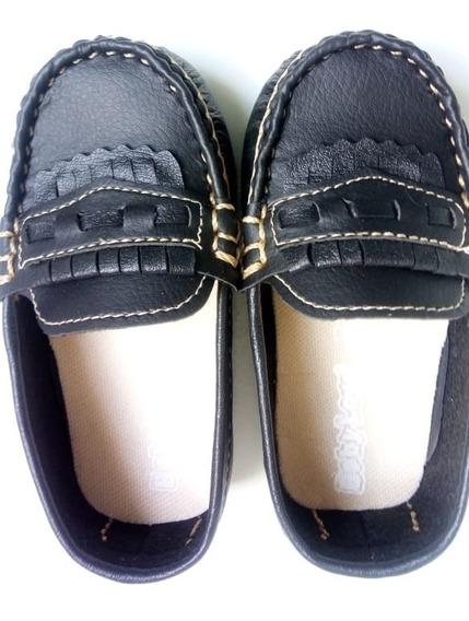 Sapato Infantil Masculino Mocassim De Couro Preto Presente