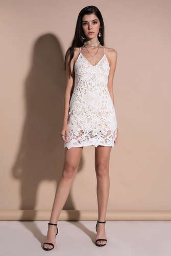 Vestido Talla M De Fiesta Con Encaje Blanco Nuevo Importado