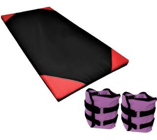Colchoneta Gimnasio 100cm Yoga + Pesas Tobilleras 5 Kilos