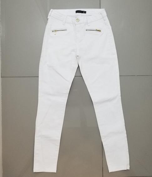 Calça Feminina Ateen Branca Tipo Jeans C/ Zíper - Tam. 36