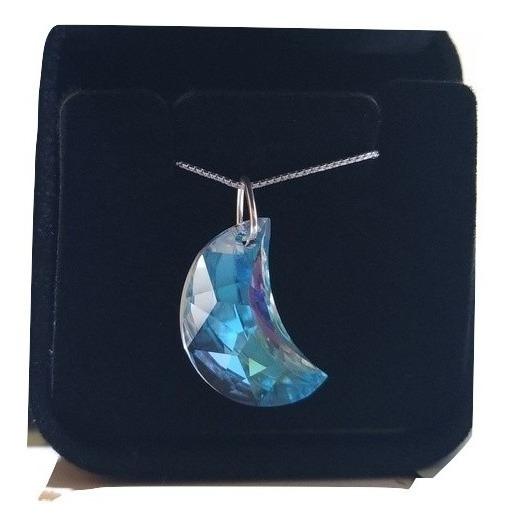 Colar Lua Cristal Swarovski Cor Blue Boreal 2.0 Cm Prata 925