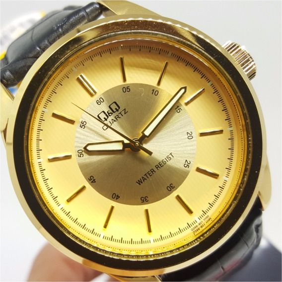 Relógio Masculino Grande Couro Preto Fundo Champanhe Q&q