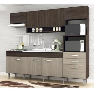 Cozinha Compacta Novo Tempo Anita 9 Portas - Malbec/decapê