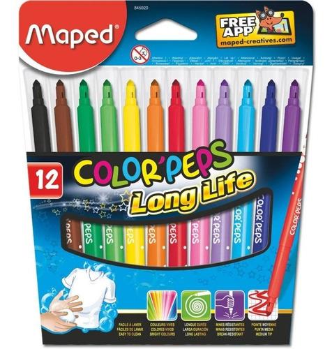 Imagen 1 de 2 de Marcadores Maped Colorpeps Long Life X 12 Estuche Colores