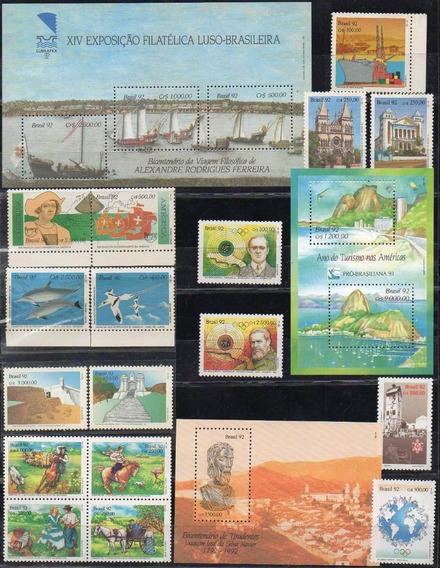 Brasil 1992. 46 Sellos + 3 Bloques Conmemorativos, Nuevos