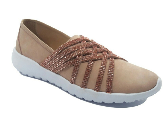 Sapato Tenis Feminino Rosa Brilhos Bico Redondo Couro B F 02