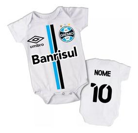 Body Infantil Camisa Grêmio Personalizado Com Nome Do Bebê