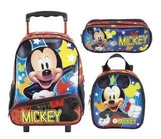 Kit Mochila Rodinha 16 Lancheira Estojo Hey Mickey - Xeryus