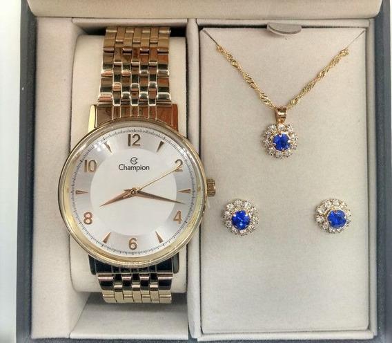 Kit Relógio Champion Dourado Visor Prata Cn29481dflor