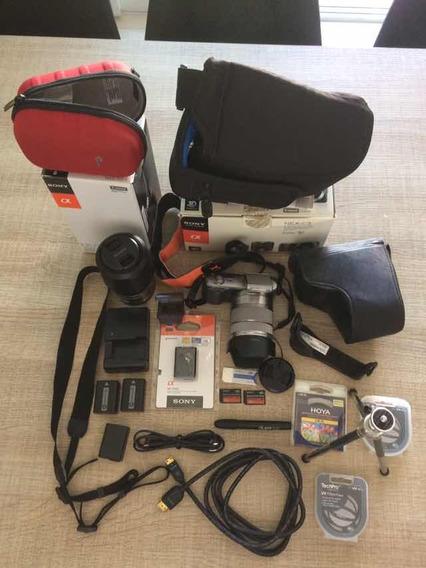 Barbada-sony Nex-c3+objetiva Sony 55-210+vários Acessórios