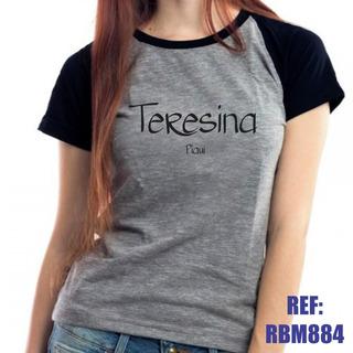 Camiseta Raglan Baby Look Teresina Piauí Mescla