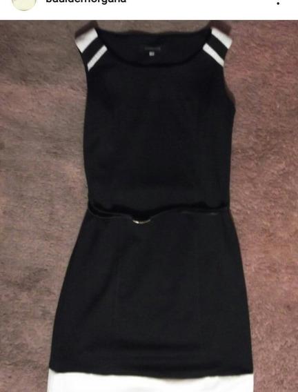 Vestido Negro Con Detalles Blancos