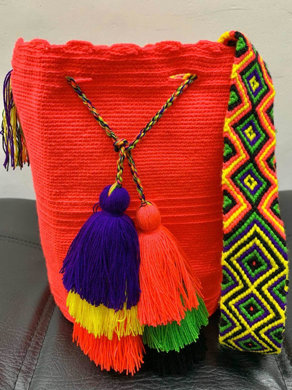 Bolso Mochila Wayuu Original Colombiana Color Coral