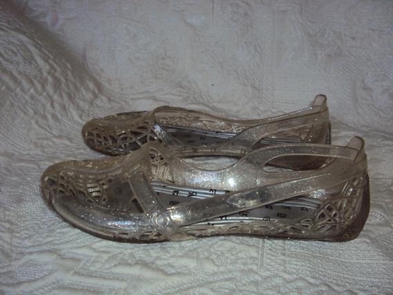 Sapato Rendado Transparente Com Glitter Tamanho 34 / 35