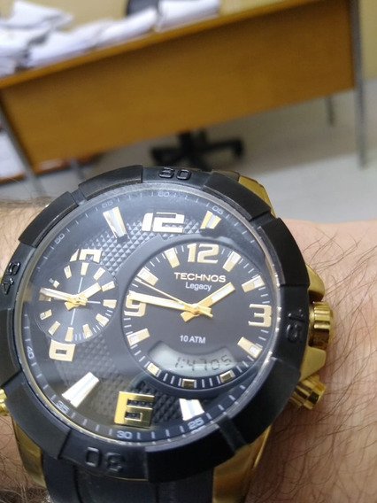 Relógio Masculino Technos Legacy Dual Time T205fj/8p 52mm Si