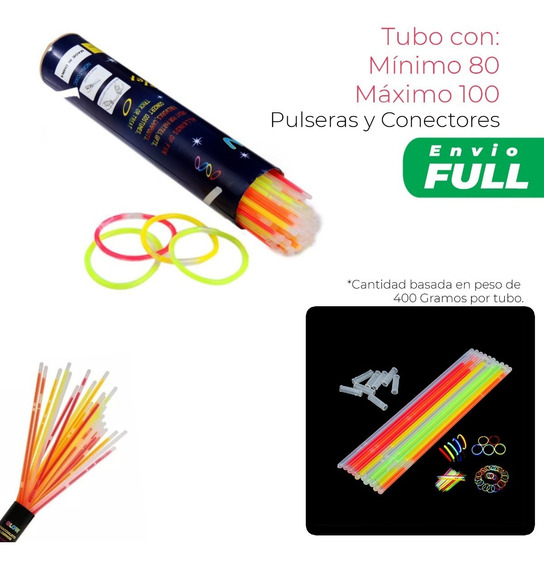 100 Pulseras Fosforescentes Neon Varitas Fiesta Fluorescente