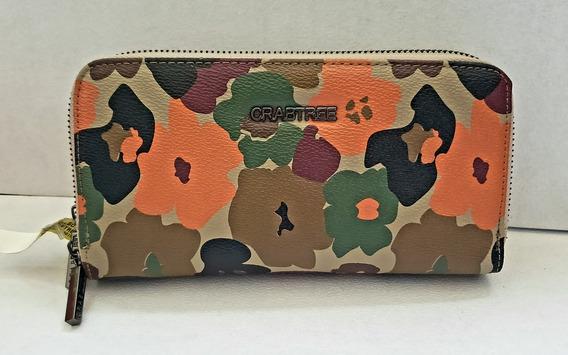 Crabtree Cartera Print Verde Con Naranja Original Y Nueva