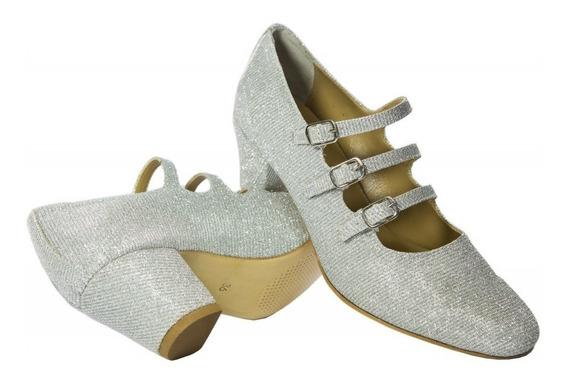 Sapato Feminino, Tipo Boneca Em Gliter Prata.