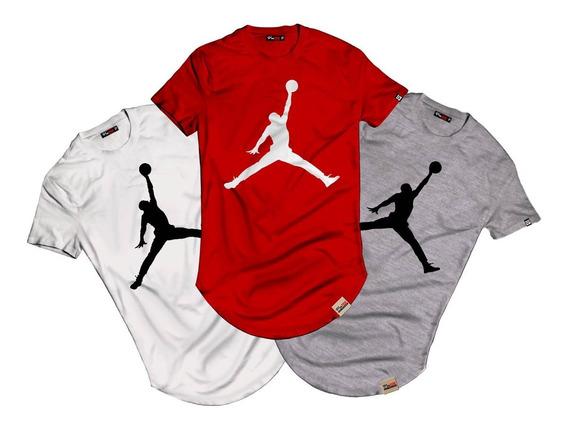 Kit 3 Camisetas Masculina Longline Jordan Blusa Michael Jordan Camisa Jogador De Baskete Manga Curta