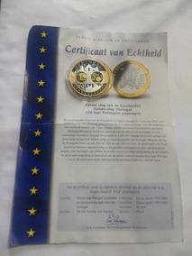 Moeda 5 Euros Prata E Ouro 24 K