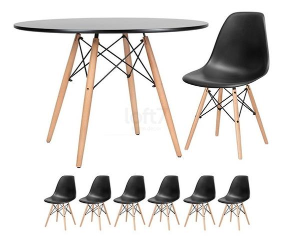 Kit Mesa Jantar Eames Wood 120 Cm 6 Cadeiras Eiffel Cores
