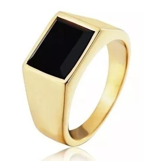 Anel Ouro 18 K Pedra Onix Natural Masculino Homem Banhado