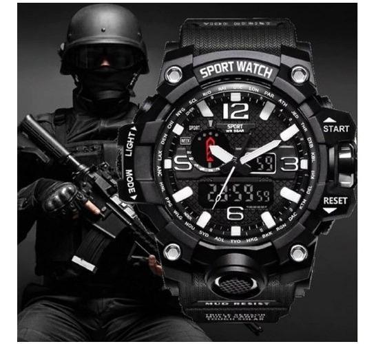 Relógio Militar Masculino Preto/branco-lepadi Pronta Entrega