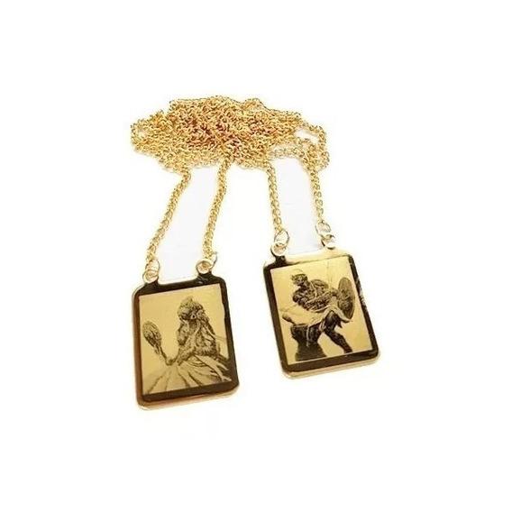 Escapulário Folheado A Ouro Oxum E Oxaguian - Orixás