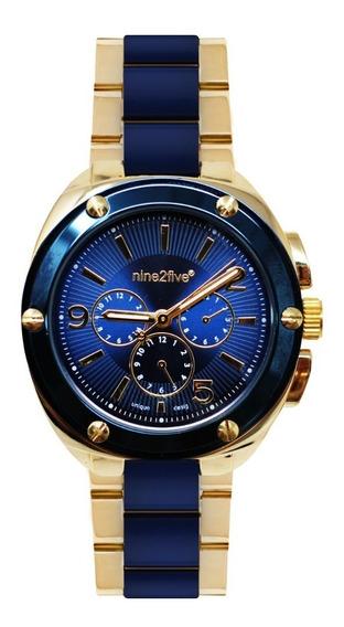 Reloj Mujer Nine2five As19n14glaz Dorado Y Azul