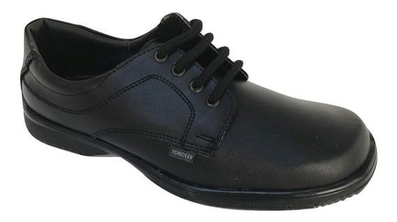 Zapato Escolar Colegial Yondeer 5505 Niño Cintas Piel Negro