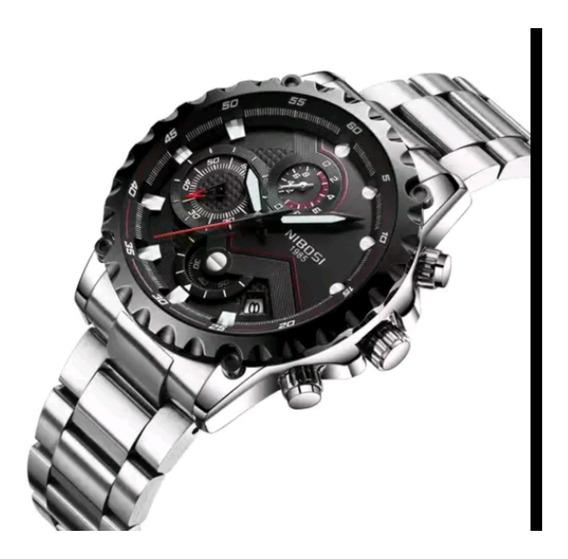 Relógio Luxuoso Nibosi Barato Novo Prata/preto Sport Present
