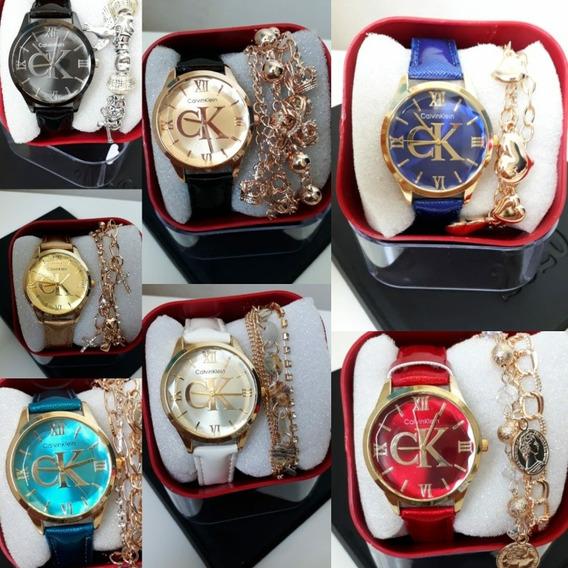 Relógio Feminino Com Caixa E Pulseira Kit Com 5 Unidades
