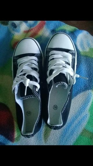 Zapatillas Negras De Lona Nuevas Nro 38 Tipo Converse