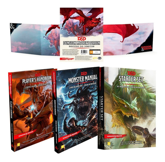 Kit Dungeon Dragons 2 Livro Escudo E Starter Portugues Rpg