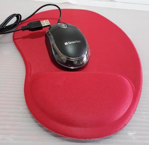 Mouse Usb Optico Banson Tech + Mouse Pad Liso Vermelho