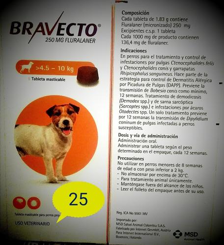 Tableta Masticable Para Perros Grandes Bravecto  De 4.5-10kg