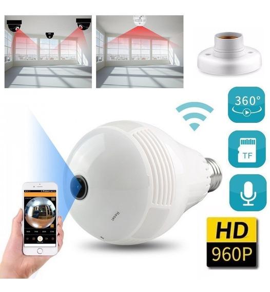 Camera Ip Segurança Lâmpada Led 360º Panoramica Espiã Wifi