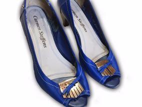 Sapato Salto Baixo Azul Carmen Steffens